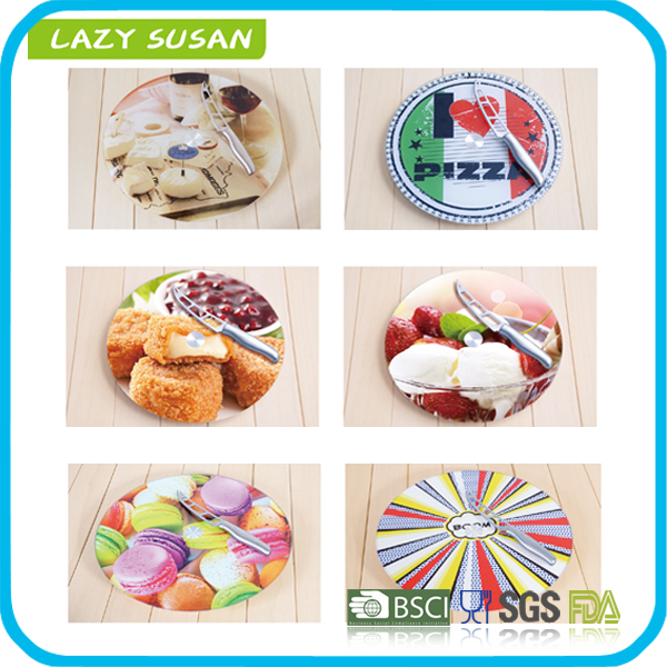 rotating round tempered glass lazy susan