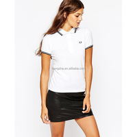 Women Embroidered Logo Spread Collar White Polo Shirt HST9372