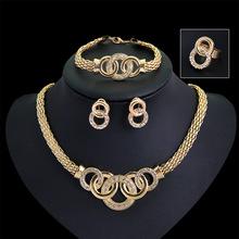 Caliente la Venta de Diamantes Anillo de Aleación de Aretes Collar y Pulsera Conjunto de Joyas