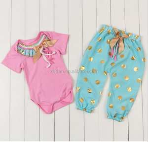 wholesale kids vintage outfit baby rompers clothing sets god dot outfits