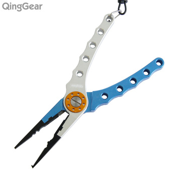 QingGear Aluminium Fishing Pliers Fishing Cutting Pliers Line Cutter Hook Remover with nylon bag and hook lanyard