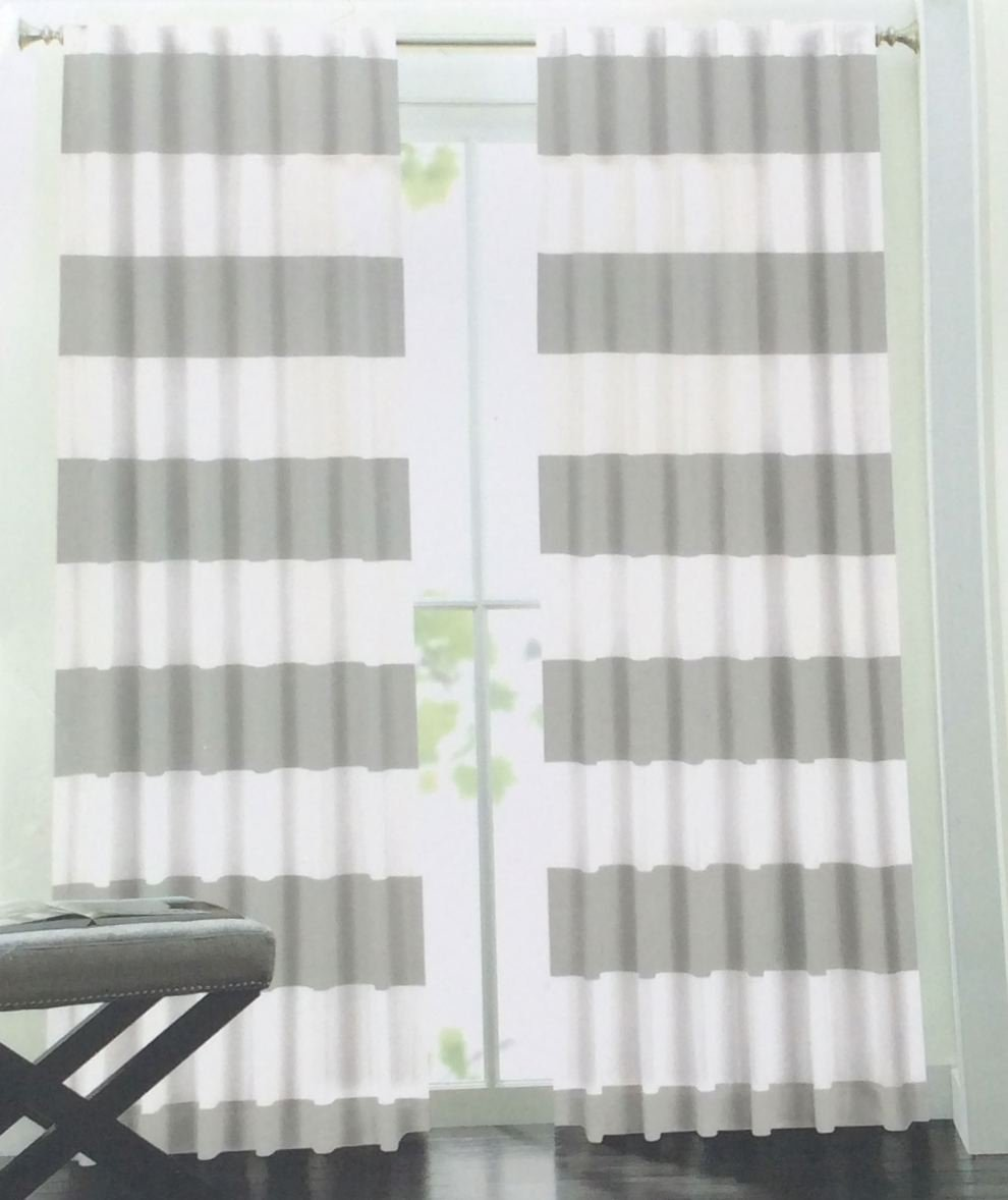 Hillcrest Wide Stripes Curtains 2 Panels 52 By 96 Inch Nautical Cabana Modern Window D