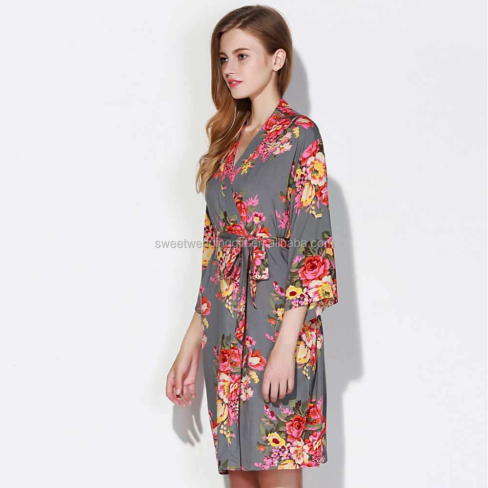 Factory Wholesales Waffle Cotton Floral Robe For Bridesmaid Party