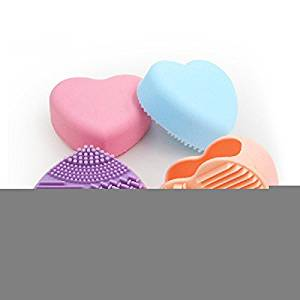 XJoel Heart-shaped Cleaning MakeUp Washing Brush Silica Glove Scrubber Board Cosmetic Clean Tools Silicone Gel Makeup Washing Brush Cleaner Scrubber Tool 4 Pcs