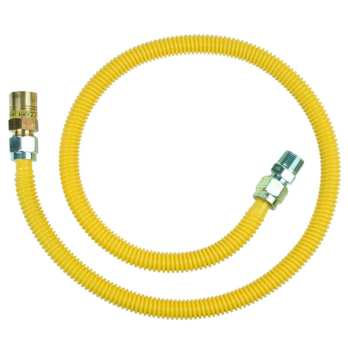 BrassCraft CSSC91E-48 P 5/8-Inch, Female Flare EFV x 3/4-Inch MIP x 36-Inch Safety+PLUS Gas Connector, 5/8-Inch, OD 106,000 BTU