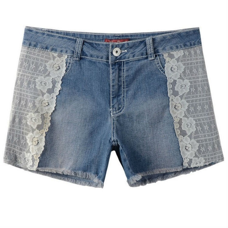 Summer 2015 women Shorts Jeans High Waist Brand Fashion Blue Lace Plus Size Women Shorts