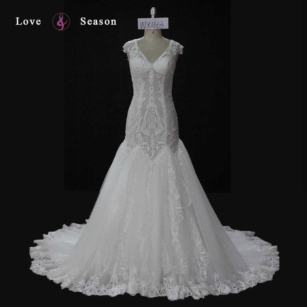 Wx1663 V-neck Wedding Dress Lace See Through Back Long Train ...