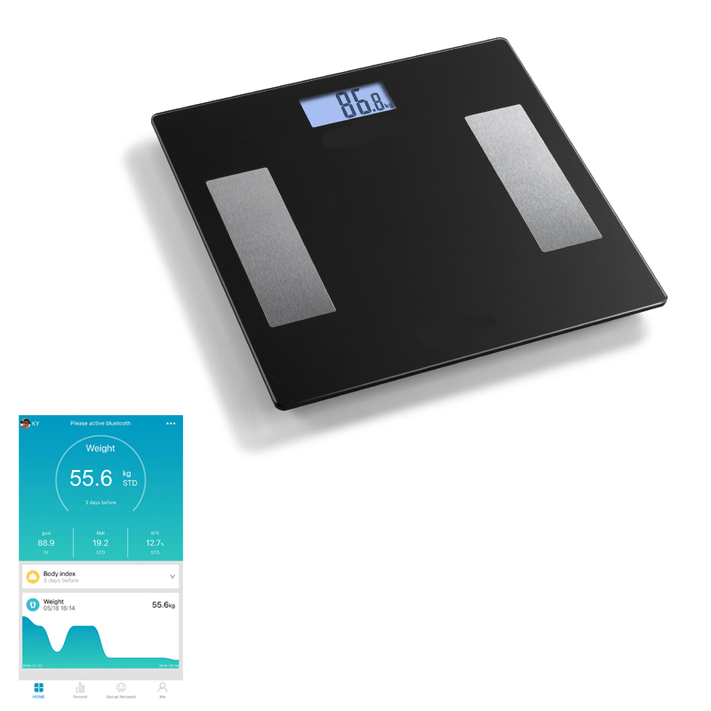 Factory Original 180kg Glass Smart Bluetooth Digital Bathroom Body Weight Fat Analysis Personal Weighing Scales