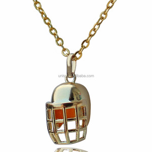 Classic Sports Jewelry Football Helmet Necklace Rugby Helmet Pendant Choker Necklace for Women American Football Lovers Gold-