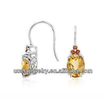Citrine And Madeira Drop Earrings Yogyakarta Viking Handmade Silver Jewelry