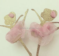 glittered gold with pastel pink dress with rosette craft for baby shower /bride shower