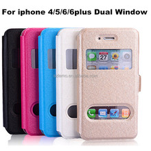 Hot Sale Luxury Silk Skin PU Leather Magnetic Flip Cover Dual Window View Case Ultra thin Holster For iPhone 4S 5S 6 6Plus
