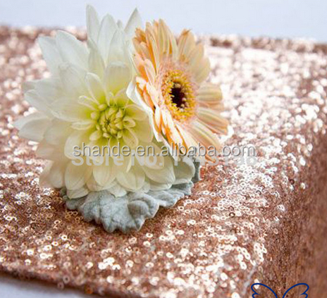 wholesale high quality metal sequin table runner Custom made Wedding sequence rose gold sequin table runner