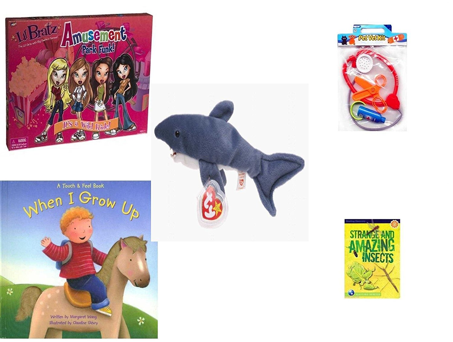 Children's Gift Bundle - Ages 3-5 [5 Piece] - Lil Bratz Game Amusement Park Funk. - Pet Vet Kit Veterinarian 4pc Set Toy - Ty Beanie Baby - Crunch the Shark - When I Grow Up Hardcover Book - Strang