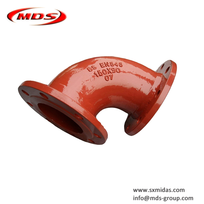 BS EN545 ductile iron elbow pipe fitting for water