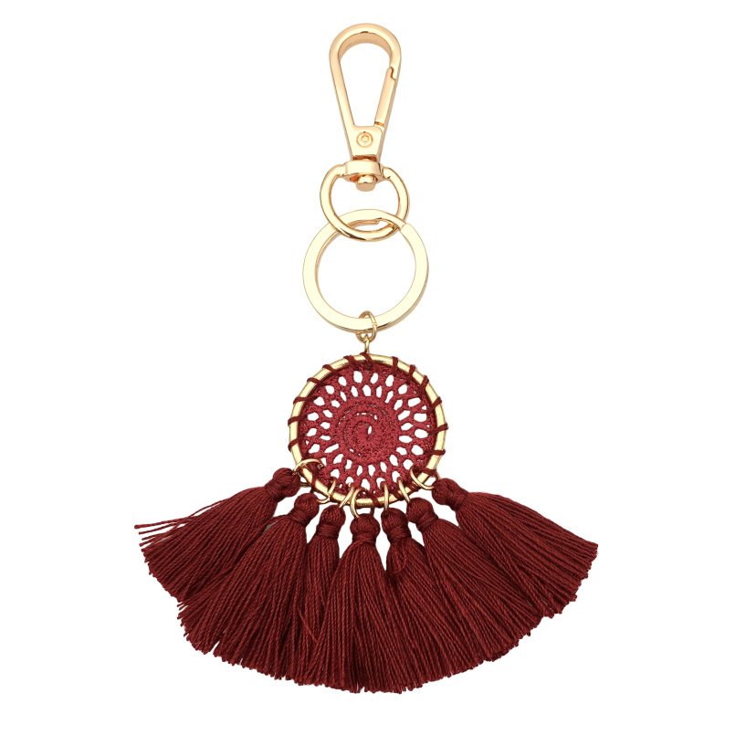 HANSIDON Trendy Handmade Thread Tassel Bohemian Keychain Jewelry Fashion Ethnic Luggage Bag Accessories Cell Phone Hanging
