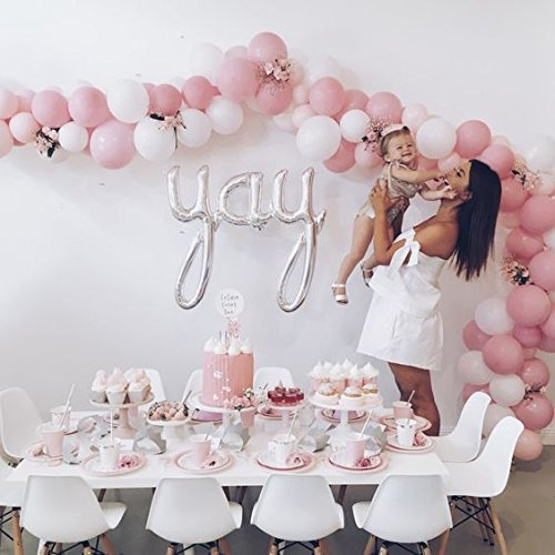 "12"" 3.2 Helium Quality Matte Latex Balloons - Light Pink And White. Perfect For Any Special Occasion,Baby Shower &1st Birthday Girl, Sweet Sixteen & Bridal Shower And Other Parties -100 Count."