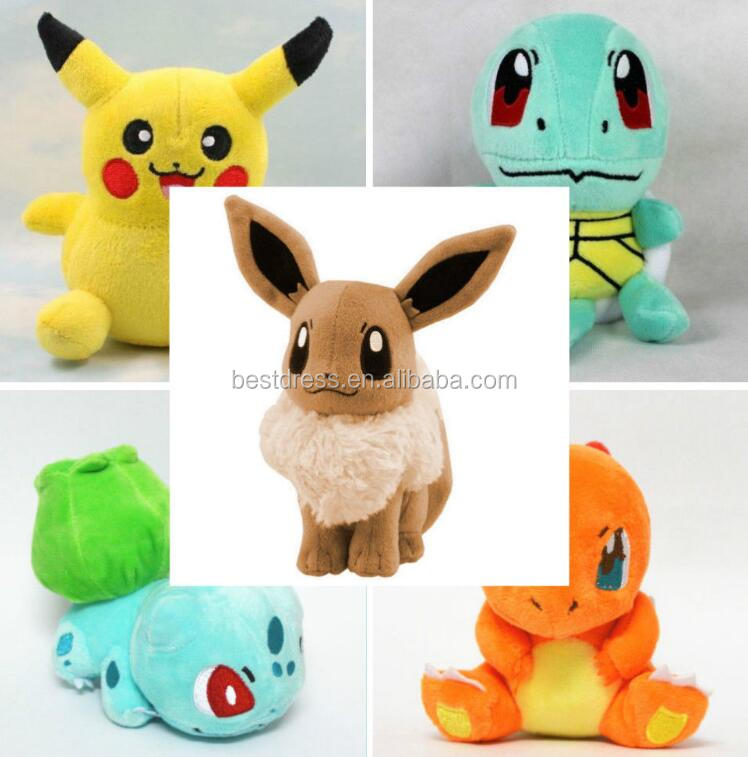 walson instyles copyright 5PCS Pokemon Plush Toys Pikachu Bulbasaur Squirtle Charmander Eevee Action Set