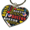 USA Boston Epoxy printing resin Logo sticker Heart Shape Souvenir Keychain