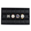 Black Carbon Fiber Leather Watch Display Tray for 18 Watches