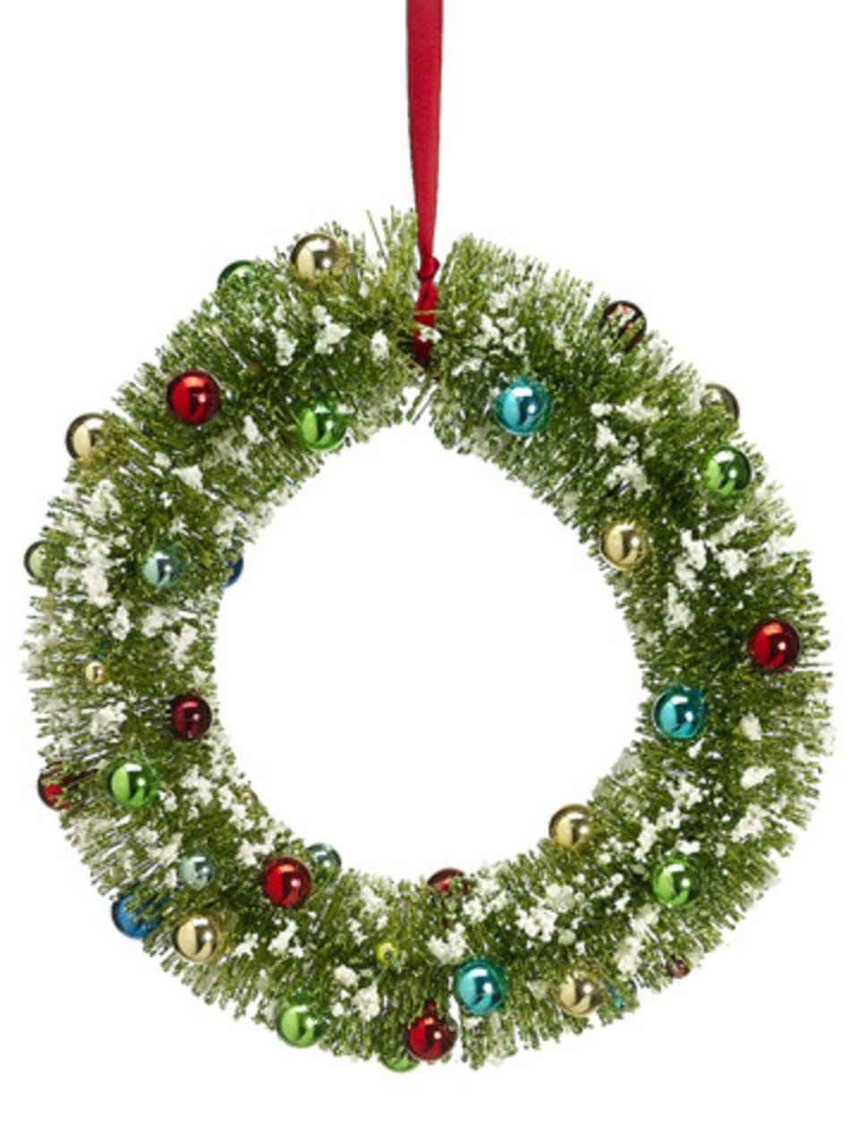"""12"""" Pre-Decorated Flocked Glitter Bottle Brush Christmas Wreath - Unlit"""