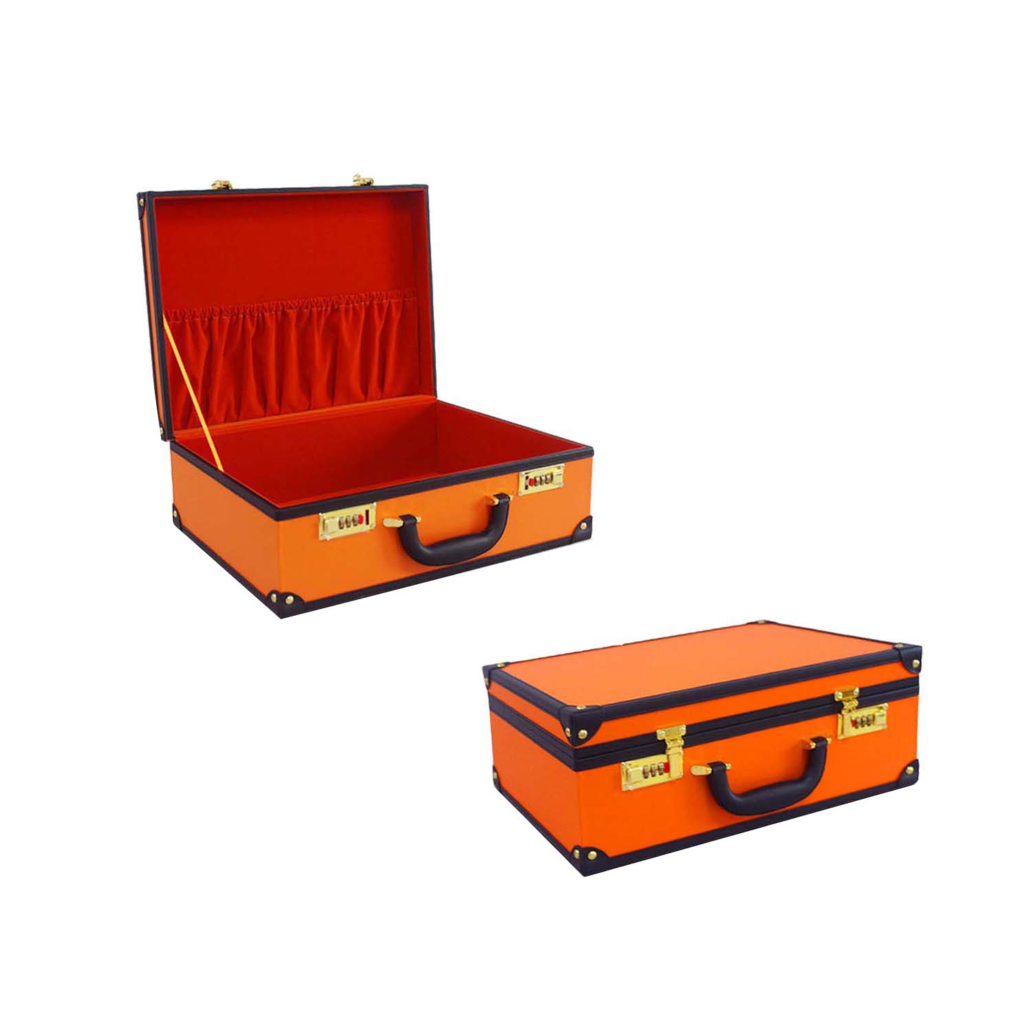 New design orange retro storage box golden hardware suitcase