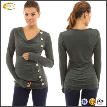 Ecoach mayorista OEM mama cuello botones de manga larga ropa de maternidad  de enfermería superior blusa 58fe62d3c2eb