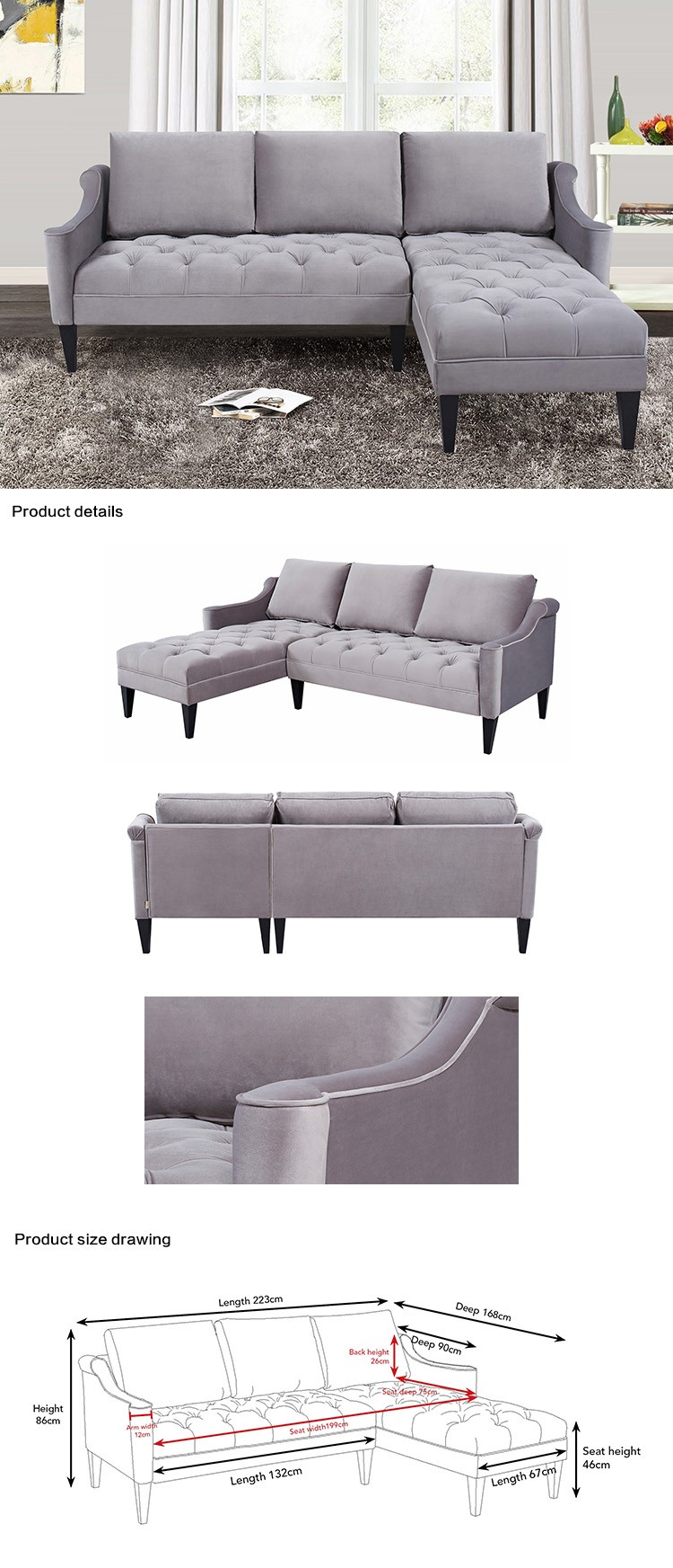 China Suppliers Wholesale New Product Sofa Set Velvet Polyester Fabric  Couch Furniture