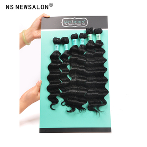 Long lasting nylon hair and soft deep wave style 7 pieces synthetic hair weft cheap
