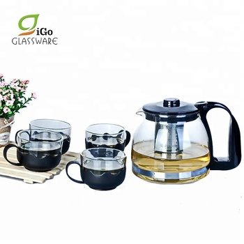 1.25L Heat Resistant Glass Coffee Tea Pot Set With Teapot