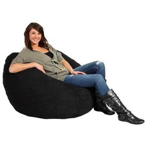 Black Bean Bag Chair Large Foam Made of Microfiber Material for Kids, Teens or Adults. Guaranteed Fun Comfort. A Great Piece of Large Modern Microfiber Furniture for Lasting Comfort. This Big Bean Bag Chair Suits Any Dining Room or Living Room