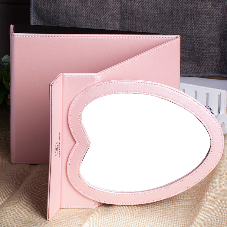 make up cosmetics mirror heart shape foldable mirror