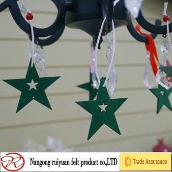 green felt star christmas tree hanging ornament for home decoration