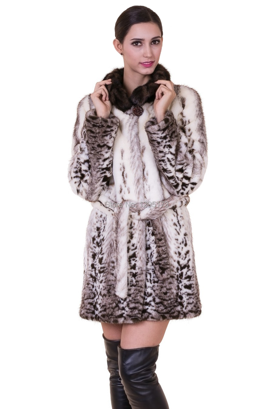 2015 new Pattern faux fox fur with dark brown mink fur collar women middle-length coat