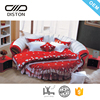 DS-R805# Hot selling red color romantic wedding modern soft italian leather round bed for sale