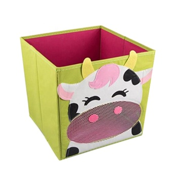 Cute Smiling Carton Cow On A Bright Green Background Collapsible Toy Storage  Box Cube And Closet