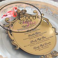 golden mirror acrylic hotel menu card for wedding