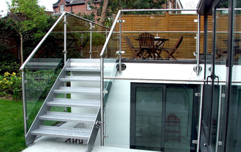 Terrace Glass Railing Used For Aluminum Exterior Stairs