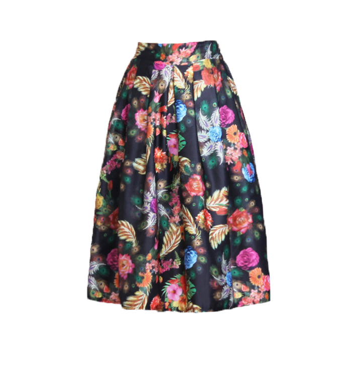 a0aa43f5fad 2015 Summer Fashion Elegant Vintage Charming Tiny Floral Printed High Waist  Pleated Long Umbrella Midi Skirt For Women