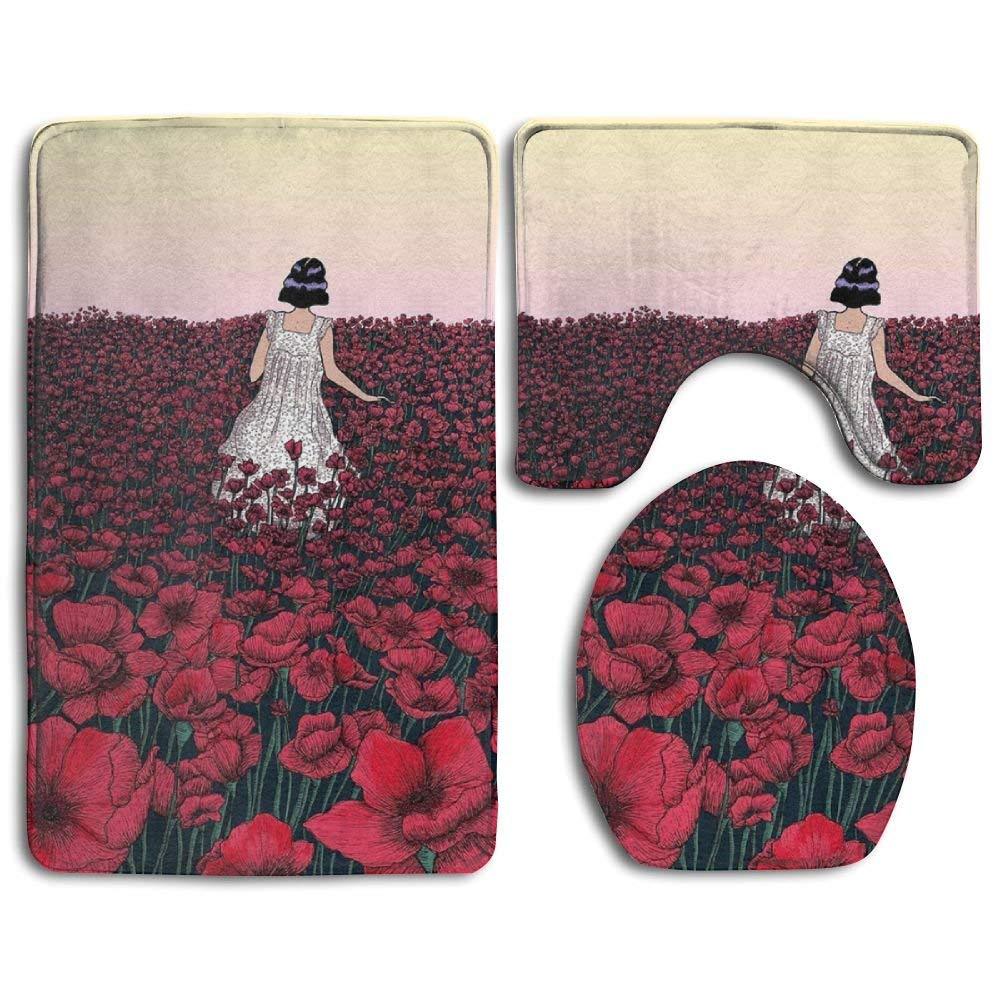 XTingIy Rose Girl Art Family Flannel Non-Slip Bathroom Rug Mats Set 3 Piece Anti-Mites