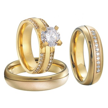 3 pcs 14k gold filled ring cz diamond yellow golden plated engagement wedding rings sets for couples