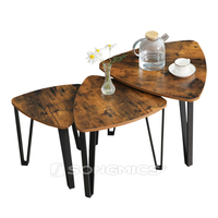 Latest 3 sets rustic vintage nesting coffee table wood, end side tables, nightstand, stacking telephone tea table