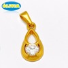 Best brand fashion jewelry saudi arabia gold plated clear cubic zirconia blank stainless steel pendant