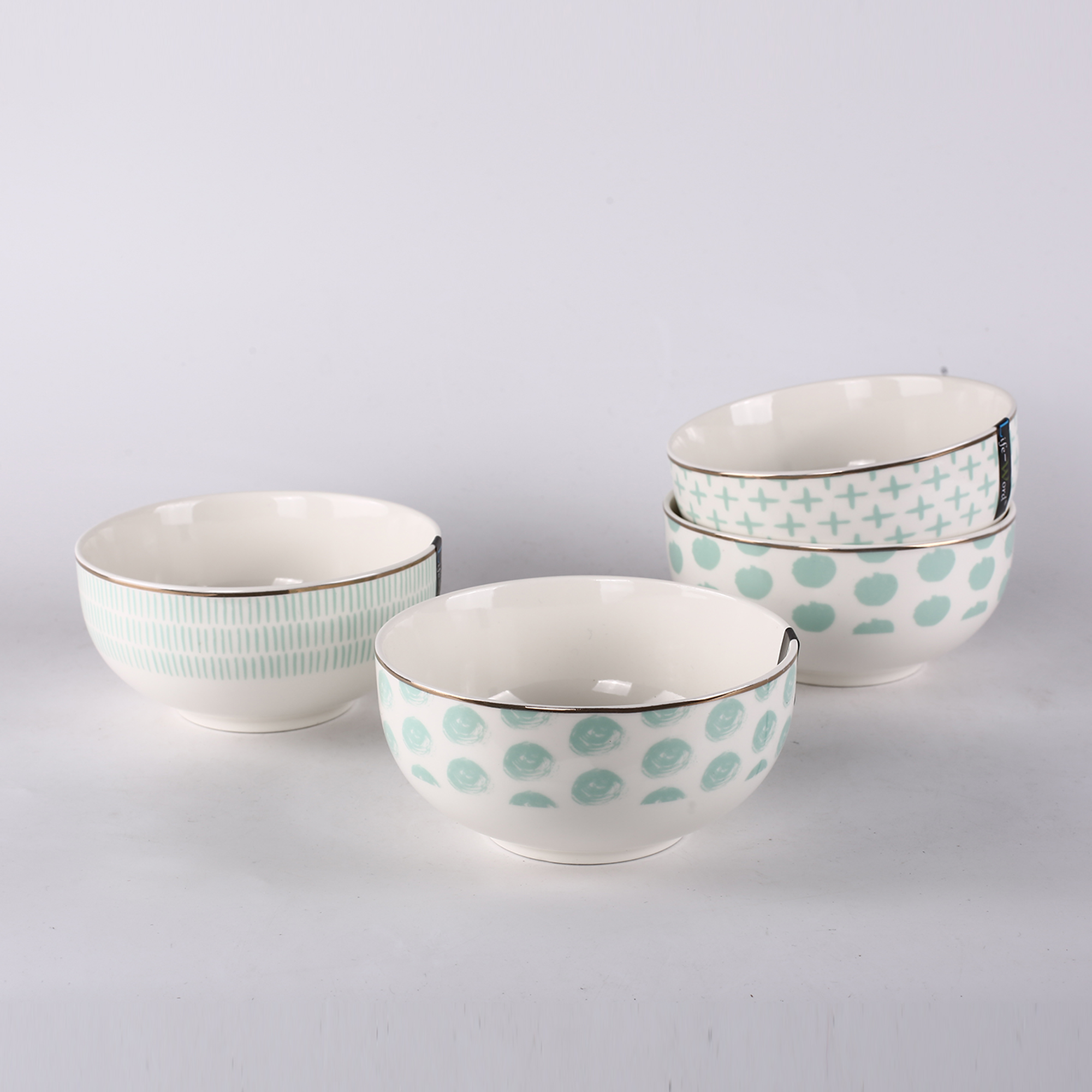 2019 hot selling new pattern light green plain white porcelain dinnerware set bulk cheap ceramic salad bowls