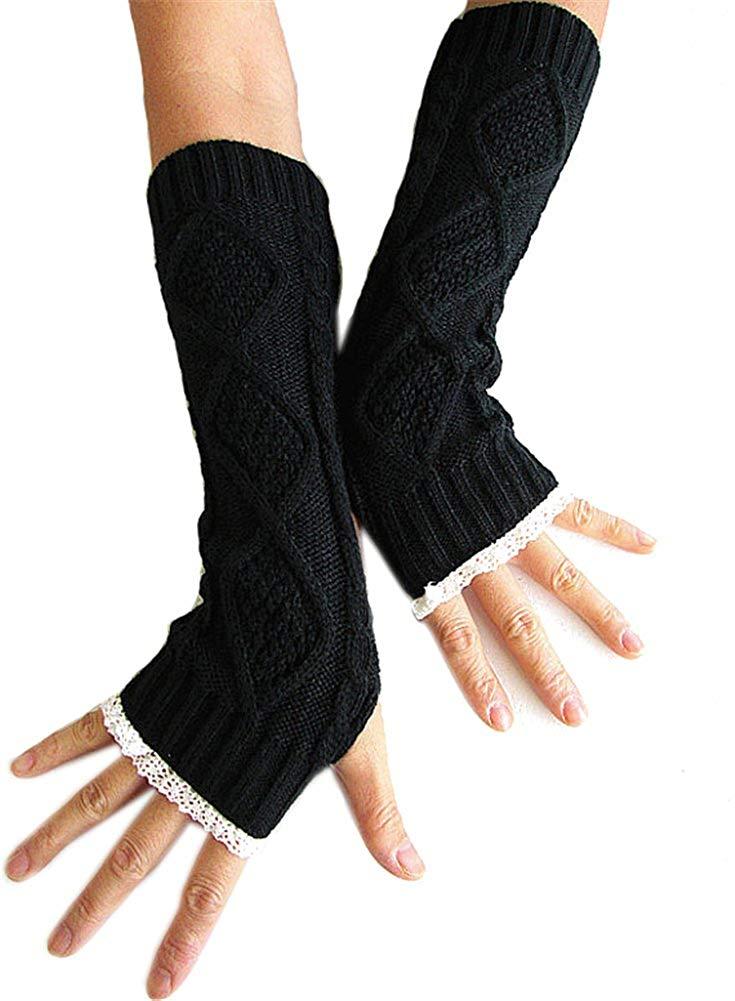 AnVei-Nao Womens Ladies Winter Warm Work Knitted Long Fingerless Gloves Mitten