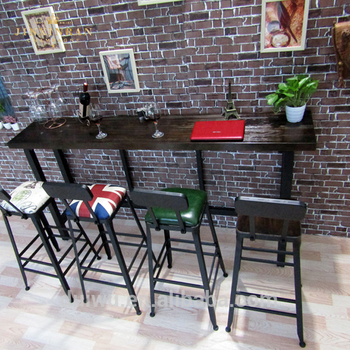 Foshan customized long narrow table industrial high top wooden bar tables