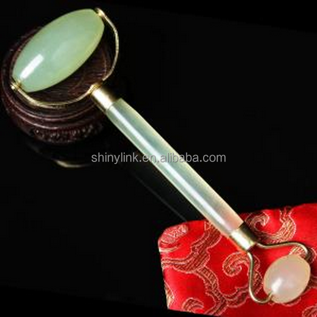 Vibrating Beauty Natural Jade Double Roller fitness chin Neck Facial Slimming Massager