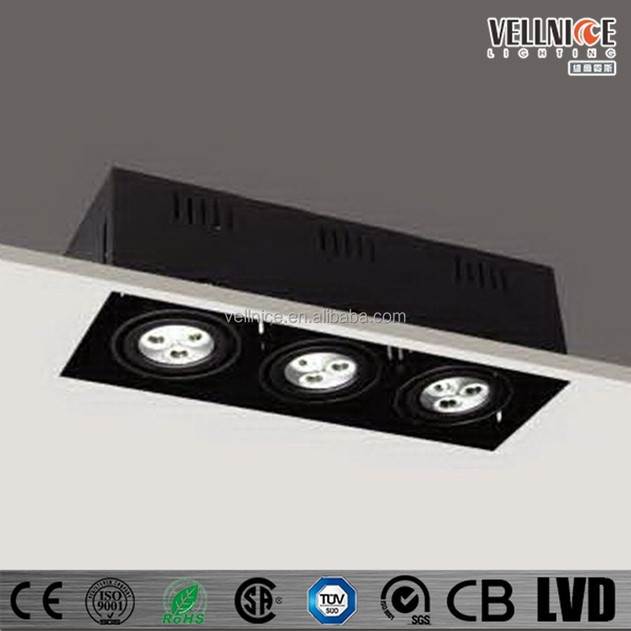 3 heads 9W Trimless adjustable black square LED recessed downlight / 3 years warranty led lighting / led spot light R3B0006
