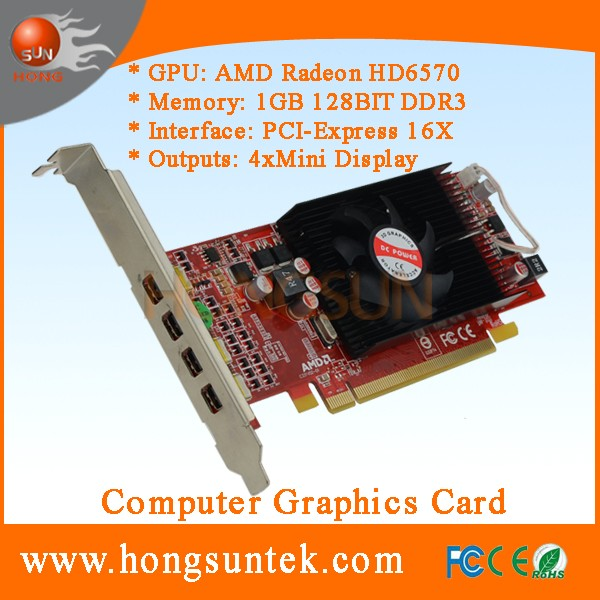AMD ATI Radeon HD 6570 PCIe 4 Mini Display ports Low Profile DDR3 1GB multi-display graphic card