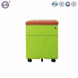 Good quality mobile pedestal cabinet customized 2 drawer movable cabinet with top seat cushion